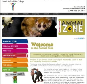 image of the animal zone website
