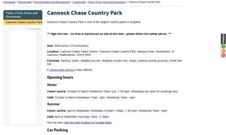 image of the Stafford County Council web page for Cannock Chase