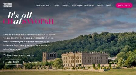 image of the Chatsworth House website