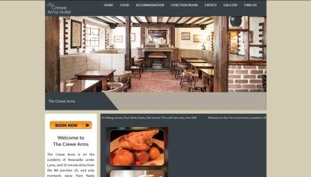 image of the Crewe Arms Hotel Stoke website