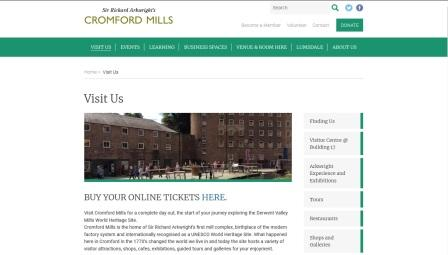 image of the Derwent Valley Mills website page
