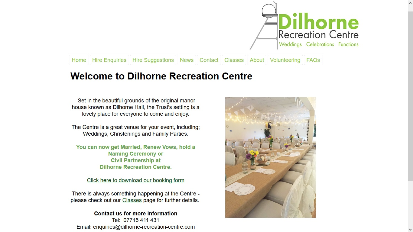 image of the Dilhorne Recreation Centre website