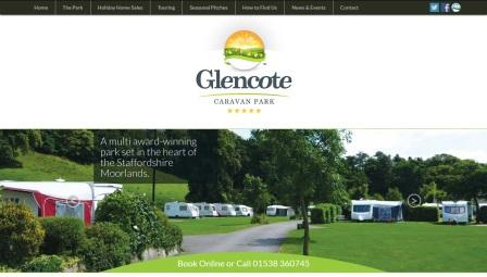 image of the Glencote Caravan Park website