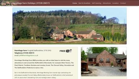 image of the Hermitage Farm website
