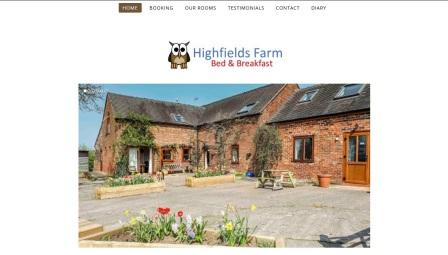 image of the Highfields Farm website