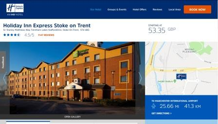 image of the Holiday Inn Express website
