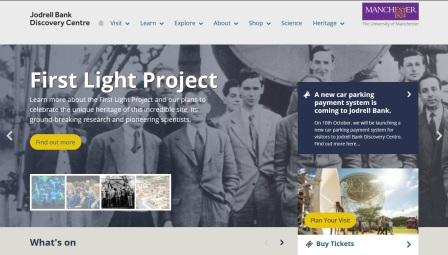 image of the Jodrell Bank website