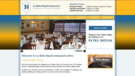 image of the La Bella Napoli website