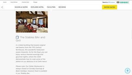 image of the Manor House Hotel website