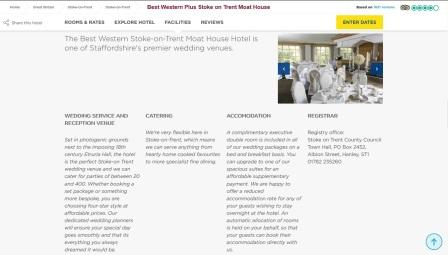 image of the Moat House Hotel website