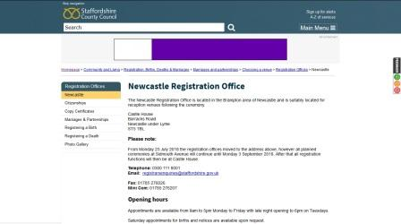 image of the Newcastle Registration Office website