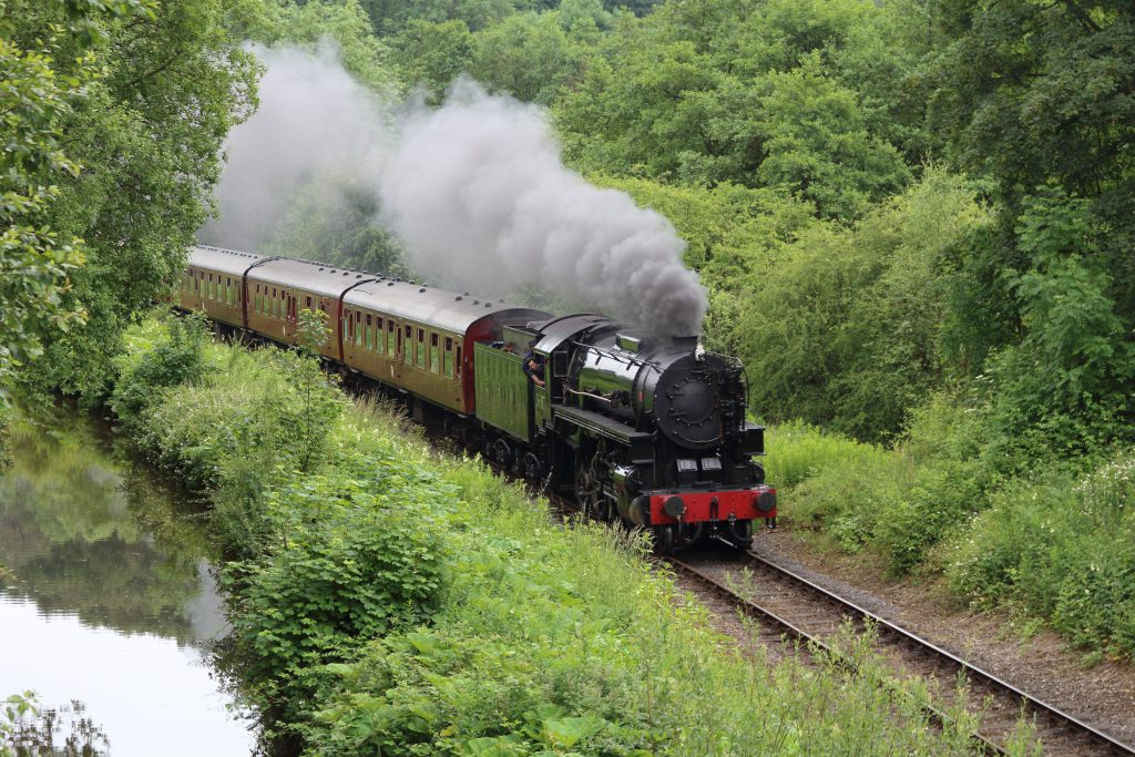 image of steam train in countryside