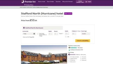 image of the Premier Inn Stafford North (Hurricane) website