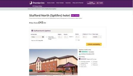 image of the Premier Inn Stafford North (Spitfire) website