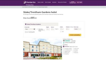 image of the Premier Inn Hotel Stoke website