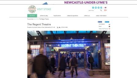 image of the Regent Theatre website