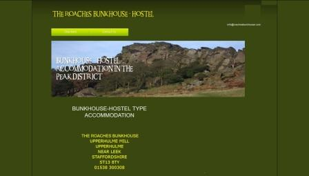 image of the Roaches Bunkhouse website
