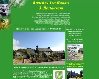 image of the Roaches Tea Rooms website