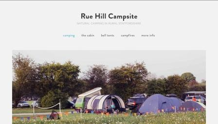 image of the Rue Hill Campsite website