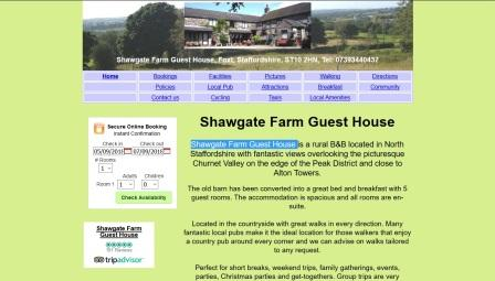 image of the Shawgate Farm website