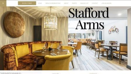 image of the Stafford Arms website