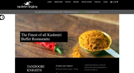 image of the Tandoori Knights website
