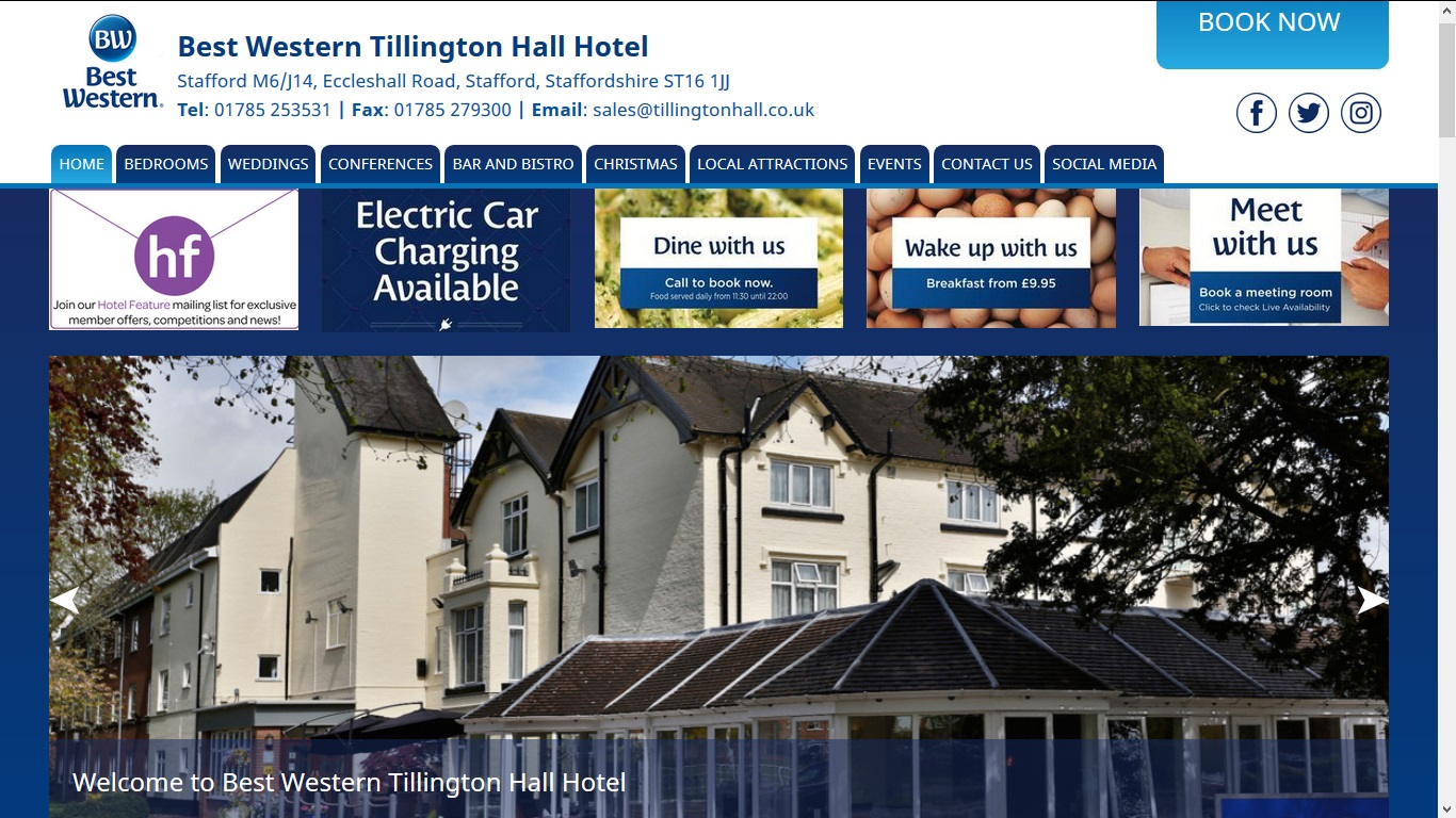image of the Tillington Hall website