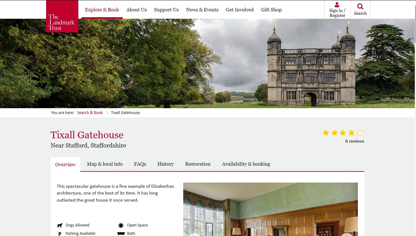 image of the Tixall Gatehouse website