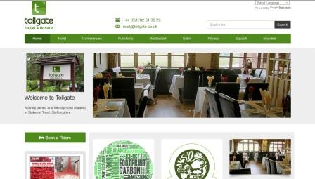 image of the Tollgate Hotel website
