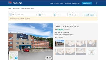 image of the Travelodge Stafford Central website