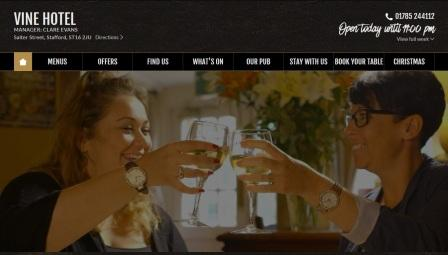 image of the Vine Hotel website