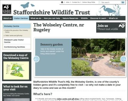 image of the Staffordshire Wildlife Trust Wolseley Centre website page