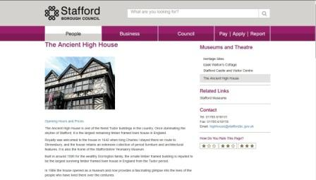 imahe of the Stafford Ancient High House website