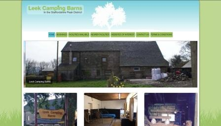 image of the Leek Camping Barns website