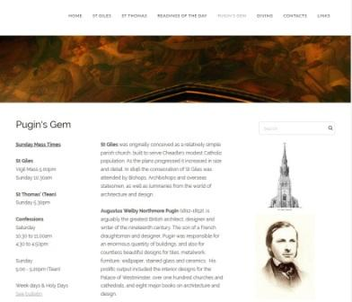 image of the st giles website